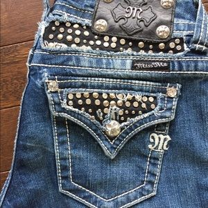 Miss Me blue jeans with black and bling  EUC 25X32